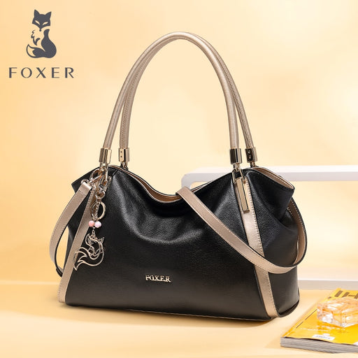 FOXER Brand Women Handbag Cow Leather Shoulder Bag Luxury Fashion Crossbody Bag for Female Lady Totes Large Capacity Bag Gift