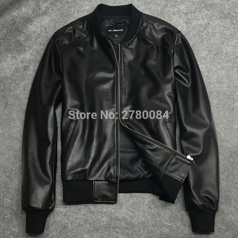 Factory men jacket male baseball uniform genuine leather motorcycle leather clothing slim design sheepskin short outerwear
