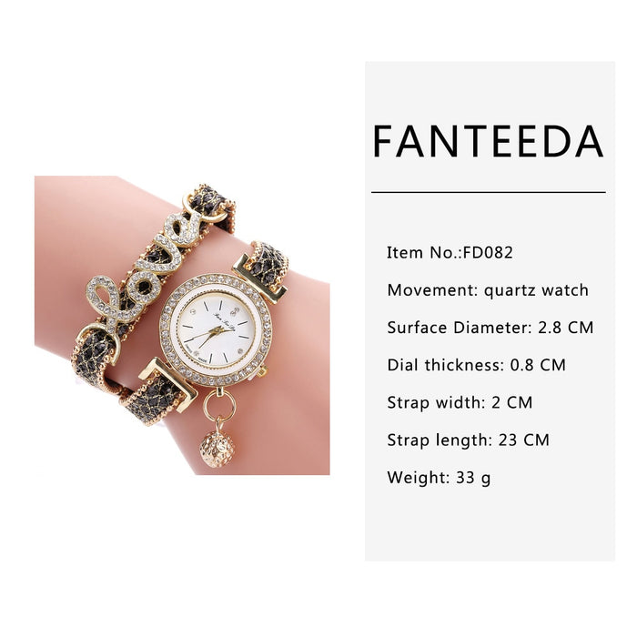 FanTeeDa Brand Women Bracelet Watches Ladies Watch Rhinestones Clock Womens Fashion Dress Wristwatch Relogio Feminino Gift
