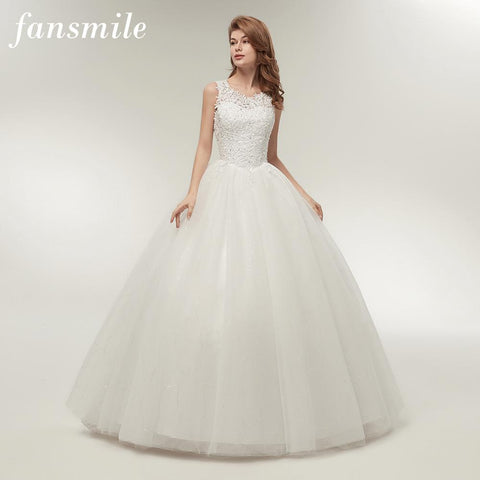 Fansmile Korean Lace Up Ball Gown Quality Wedding Dresses 2017 Alibaba Customized Plus Size Bridal Dress Real Photo FSM-002F