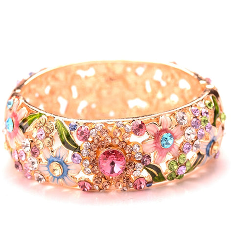 Fashion Retro Ethnic Style Design Crystal Embellishment Bangle Birthday Party Gift  Loose Gemstones Body Jewelry