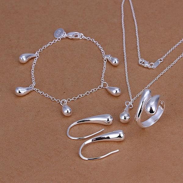 Fashion   Silver Jewerly Set for Women Bridal Party Wedding jewelry sets Wholesale Cheap brincos