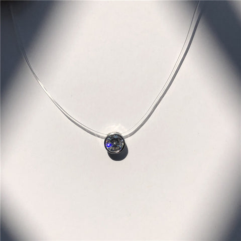 Fashion Square Imitation Pearl Necklace Cz Stone Crystal Zircon Invisible Transparent Fishing Line Chain Necklace For Women Girl