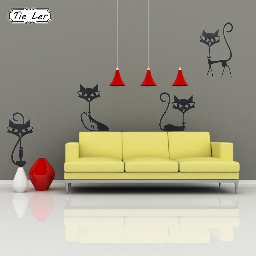Fashion Wall Stickers Four Black Cat Stickers Living Room Wall Decor Child Bedroom Vinyl Home Decor Stickers