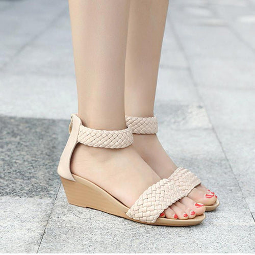 Fashion Women Sandals Wedges Weave Middle Heel