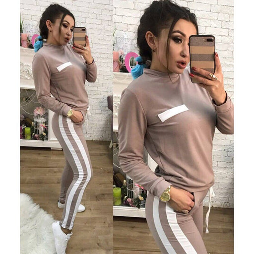 063599a307e2 Fashion Womens Tracksuits Two Pieces Striped Jumpsuits Casual Sport  Outdoors Rompers Style Lace Up Playsuits Overalls