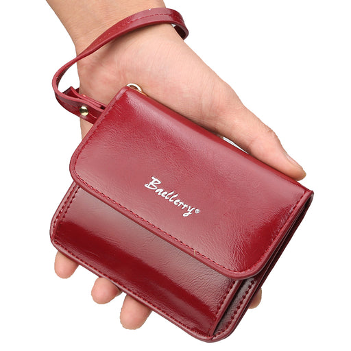 Fashion Wristlet Wallet Female High Quality Oil Leather Coin Purse Small Womens Wallets and Purses Credit card Holder Solid Bag