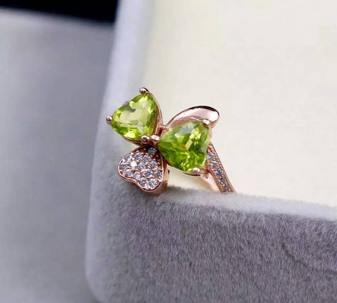 Fidelity Natural peridot s925 sterling silver ring Pendant fine jewelry sets gift for women party natural lemon gemstone