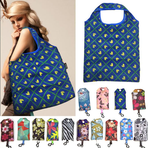 Foldable Handy Shopping Bag Reusable Tote Pouch Recycle Storage Handbags Print Shoulder bag Market Beach Holiday Laundry Tote