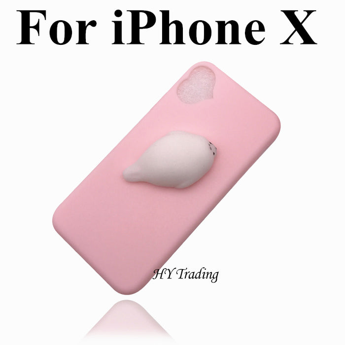 09c9cdc4a8be2c For iPhone 5S Case Lovely 3D Silicone Cartoon Cute Cat Paw Sea Lion Soft  TPU Squishy