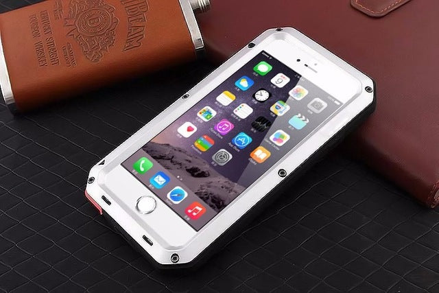 promo code 1e121 22810 For iphone 8 X case Luxury doom armor Dirt Shock Waterproof Metal phone  cases For iphone SE 5 5S 6S 7 Plus case +Tempered glass