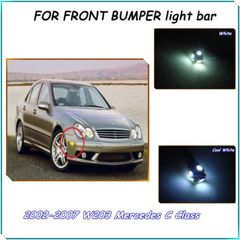 Free Shipping Car Accessories Canbus LED Bar lights Front Bumper Corner Lights Kit  White for W203 Mercedes C Class 2002-2007