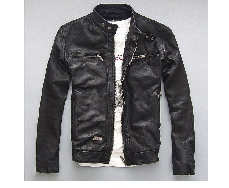 Free shipping.Sales 100% quality vintage Sheepskin leather men jackets,men's genuine leather jacket,classics motorcycle biker.