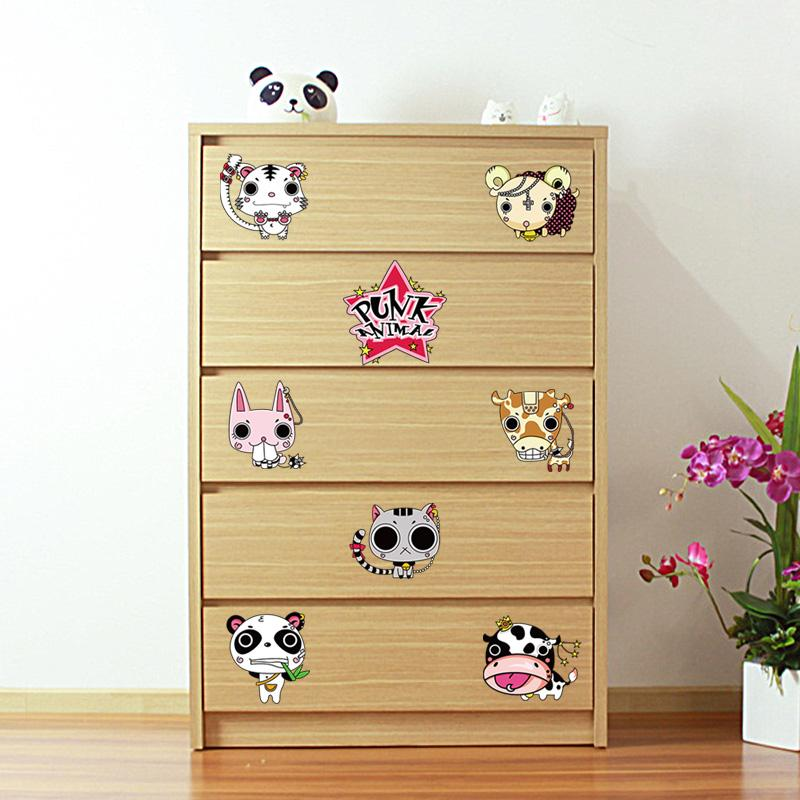 Fundecor] PUNK animal Cat caw panda wall stickers for kids rooms diy ...