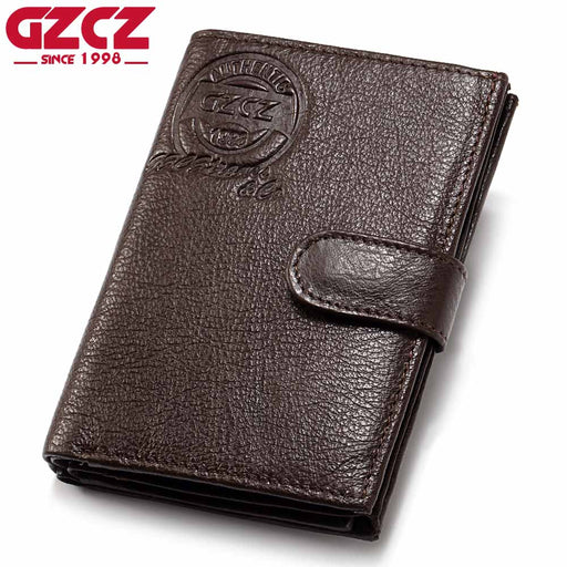 GZCZ Men's Genuine Leather Wallet Fashion Male Clutch Cowhide Passport Cover Clamp For Money Money Bag Man Vintage Walet Rfid