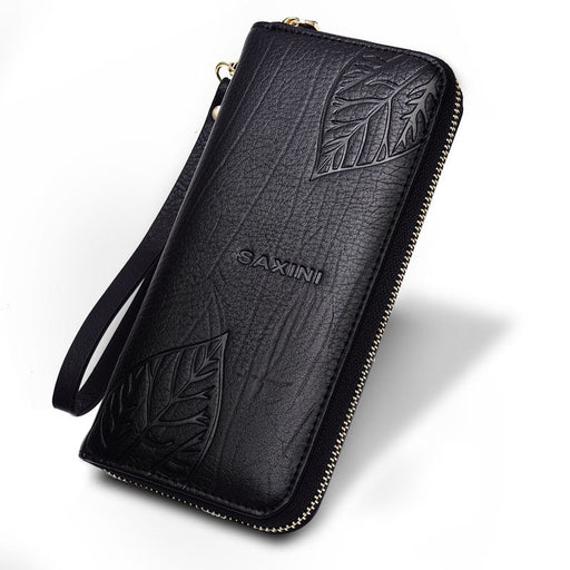 Genuine Leather Womens Wallets Ladies Embossing Wallet Female  Card Holders Purse Long Hasp Purses