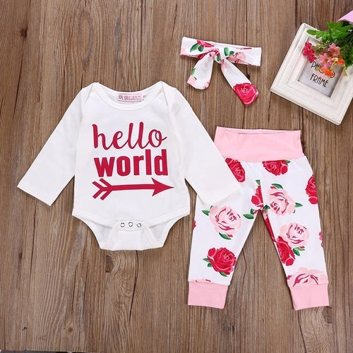 Girl Set Clothes Newborn Baby Floral Letter Print