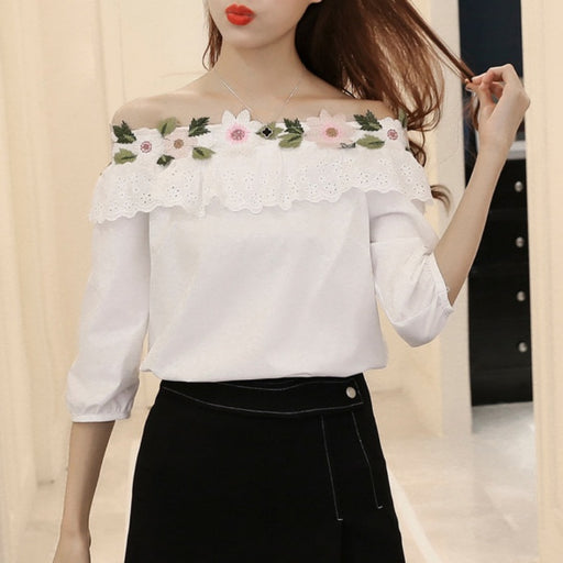 Girls slash floral embroidered blouse fashion hollow blouse Lovely splice lace blouses neckline three quarter sleeve shirt W2