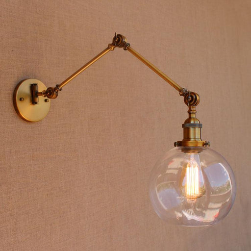 Glass Ball Antique Brass Loft Industrial Retro Vintage Wall Lamp Swing Long Arm Light Wall Sconce Luminaire Apliques Pared