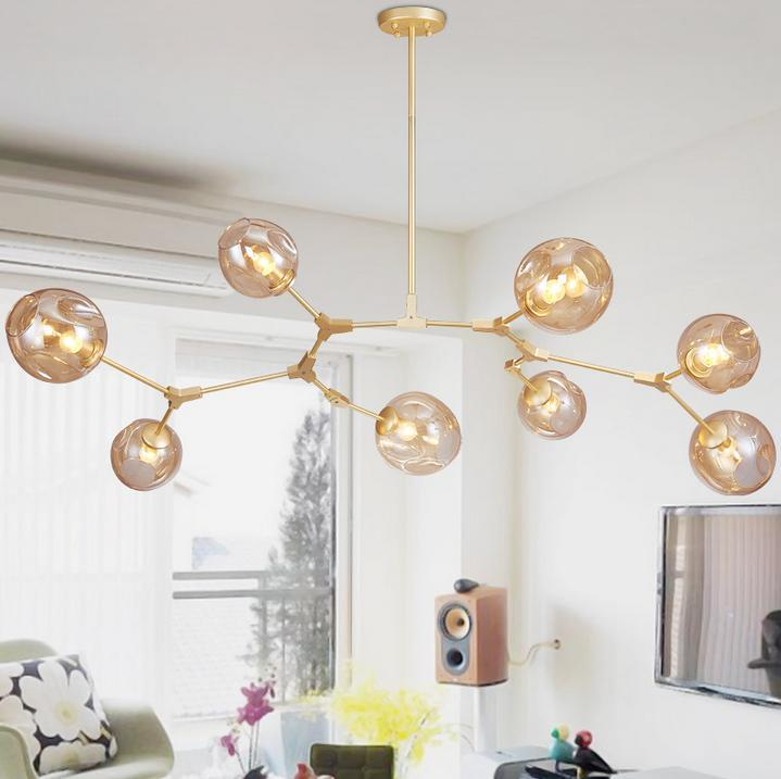 Glass Ball Branching Bubble Pendant Chandeliers For Dining Room Living Modern Chandelier Lighting Re Led
