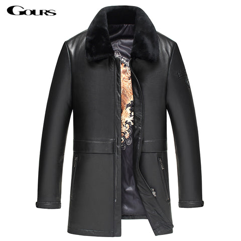 Gours Winter Genuine Leather Jackets for Men Fashion Brand Black Long Sheepskin Overcoats with Wool Collar New 4XL HS10023