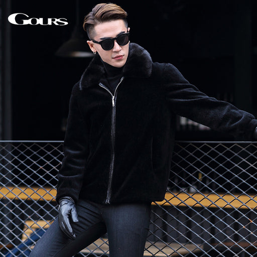 Gours Winter Genuine Leather Jackets for Men Fashion Brand Black Sheepskin Shearling Coats with Mink Fur Collar Warm New HS1809