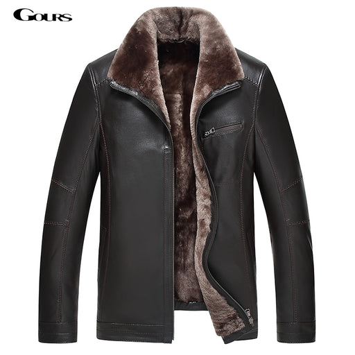 Gours Winter Men's Genuine Leather Jackets Brand Clothing Fashion Black Sheepskin Jacket and Coats with Wool Collar 2016 New 4XL