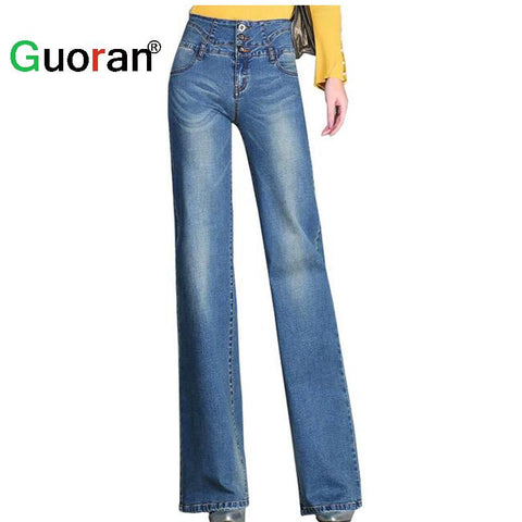{Guoran} Casual loose jeans pants for women 2017 summer new female fashion wide leg trousers light blue high waist plus size 33