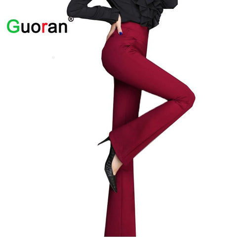 {Guoran} High Quality Women Wide Leg Pants Black Red High Waist Female Formal Office Work Trousers Ladies Stretch pantalon Femme