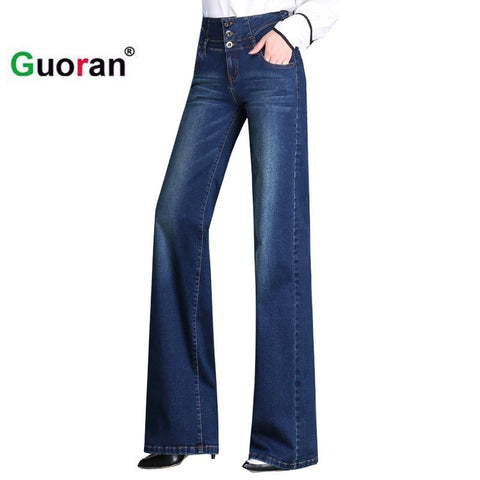 {Guoran} High waist loose denim jeans pants for women 2017 new washed blue wide leg jeans trousers plus size 33 32 fashion pant