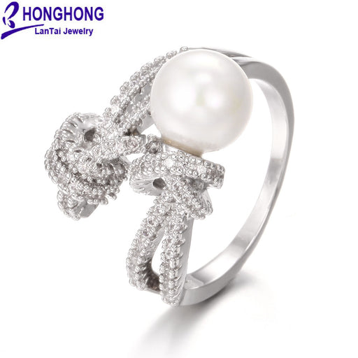 HONGHONG 2018 High Quality Cubic Zirconia Pearl rings for women Popular Romantic Bride Rings Fashion Jewelry
