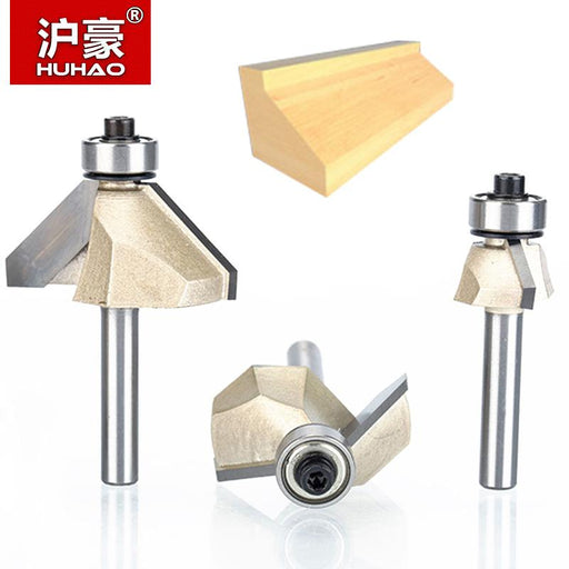 "HUHAO 1pcs 1/4"" Shank Chamfer Cutter Router Bits for wood Horse Nose Bit 45 Deg CNC Woodworking Tools two Flute endmill"