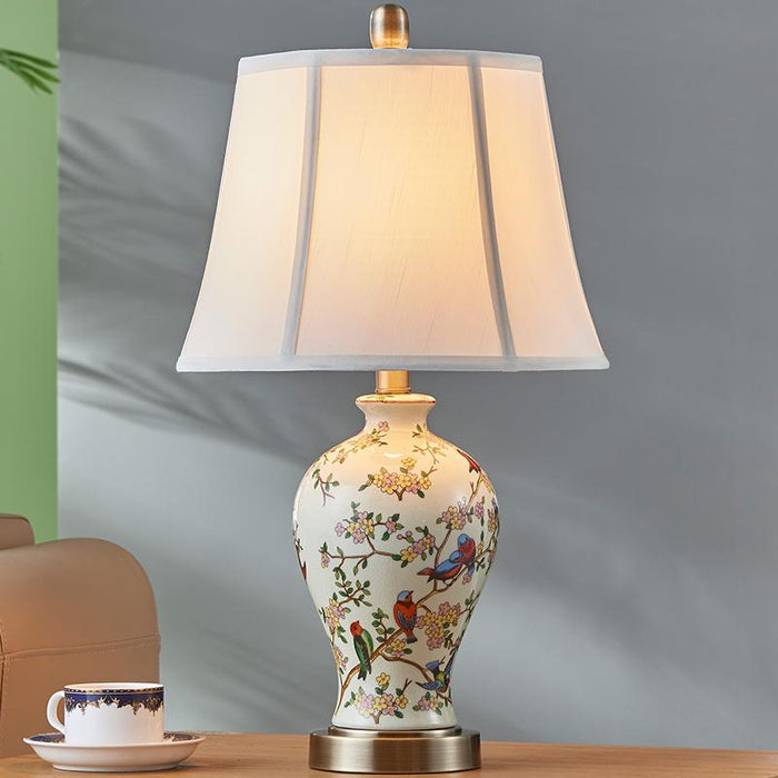 Hand painted art ceramic table lamp bedroom bedside lamp new Chinese  pastoral creative warm living room LED lights
