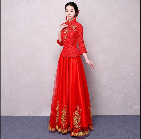 High quality Red Women Chinese Traditional Dress Red Bridal WeddingDress Clothes Chinese National Long  Female Party Dress