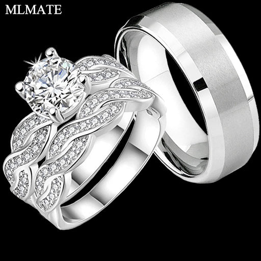 bedbb32d5c His / Hers Infinity Couple Rings Womens Cubic Zirconia Mens Stainless Steel  Anniversary Promise Bridal Engagement