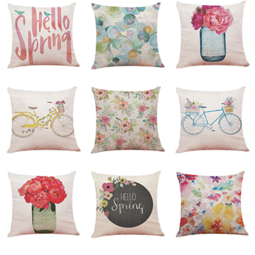 Home Decor Cushion Cover Hello Spring Throw