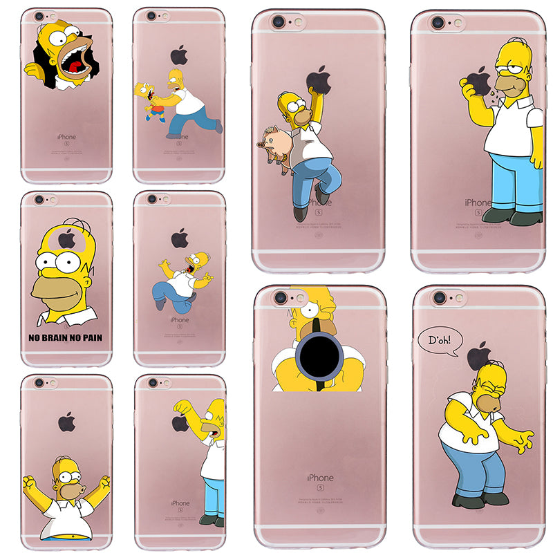 huge discount 7547e 3805b Homer Jay Simpson Case for iphone 5 5s SE 6 6s 7 8 plus Funny Cover Cheap  Fundas Soft TPU Silicone Transparent Coque Ultra-thin