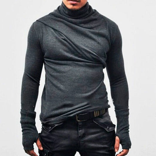 Hoodies Men Casual Solid Color 2018 Autumn Winter New Turtleneck Cuff gloves design Hooded Sweatshirts High Quality Plus Size