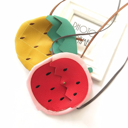 Hot Sale Children Watermelon Pineapple Shape PU Message Bag Baby Girls Fruit Coin Purse Kids Girls Purse Small Coin Bag