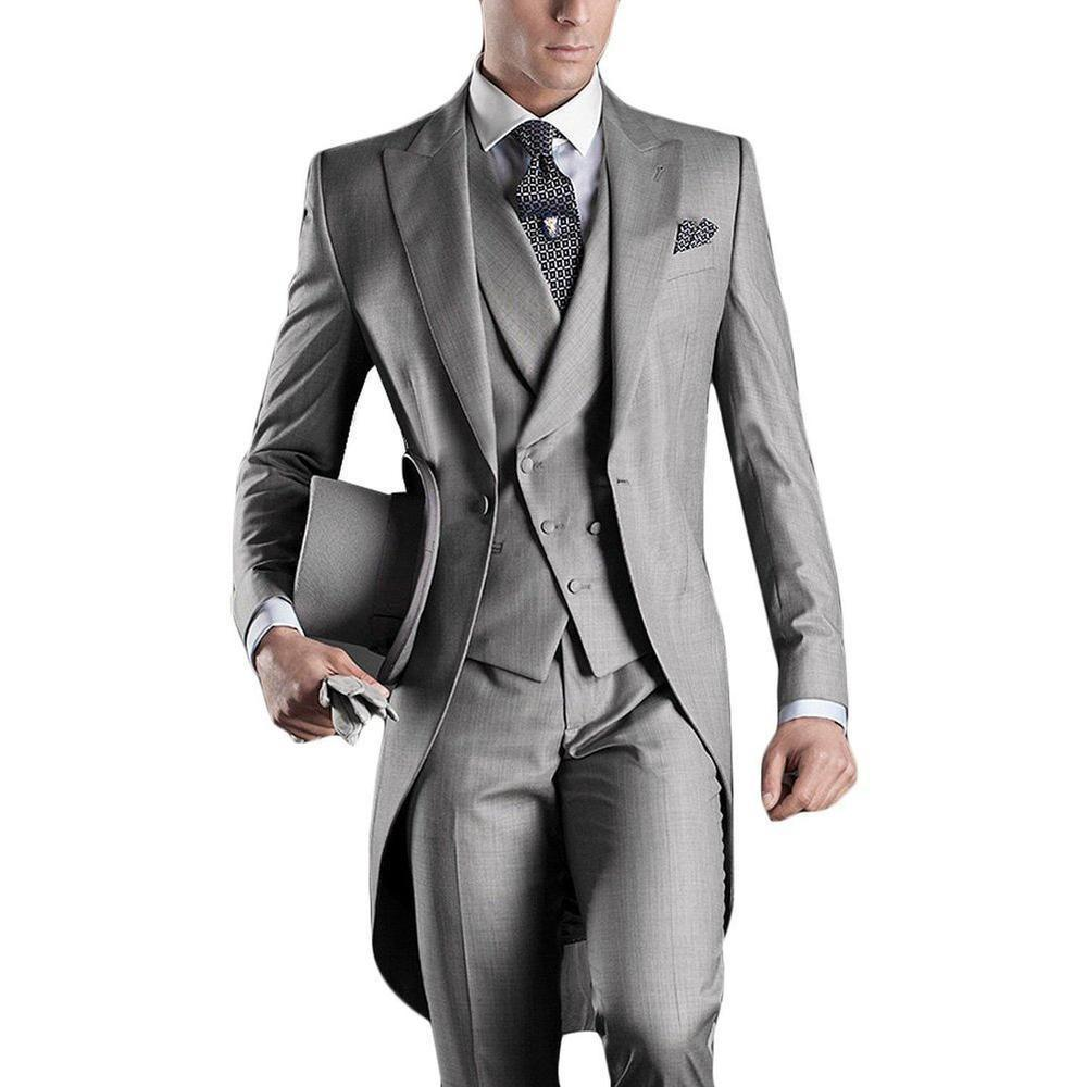 Hot Sale Grey Italian Mens Tailcoat Wedding Suits for Men Groomsmen ...