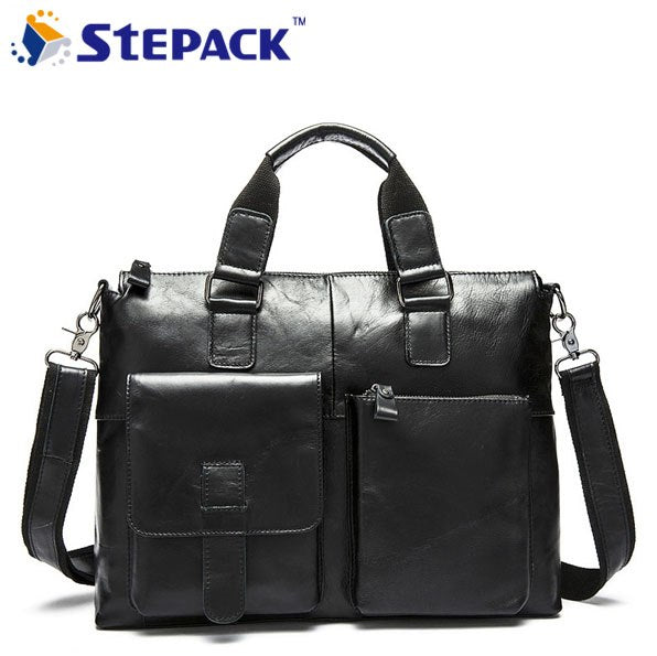 Hot Selling 100% Genuine Leather Men Buiness Bag Male Breifcase Bag Men Messenger Bag  Put Your Laptop