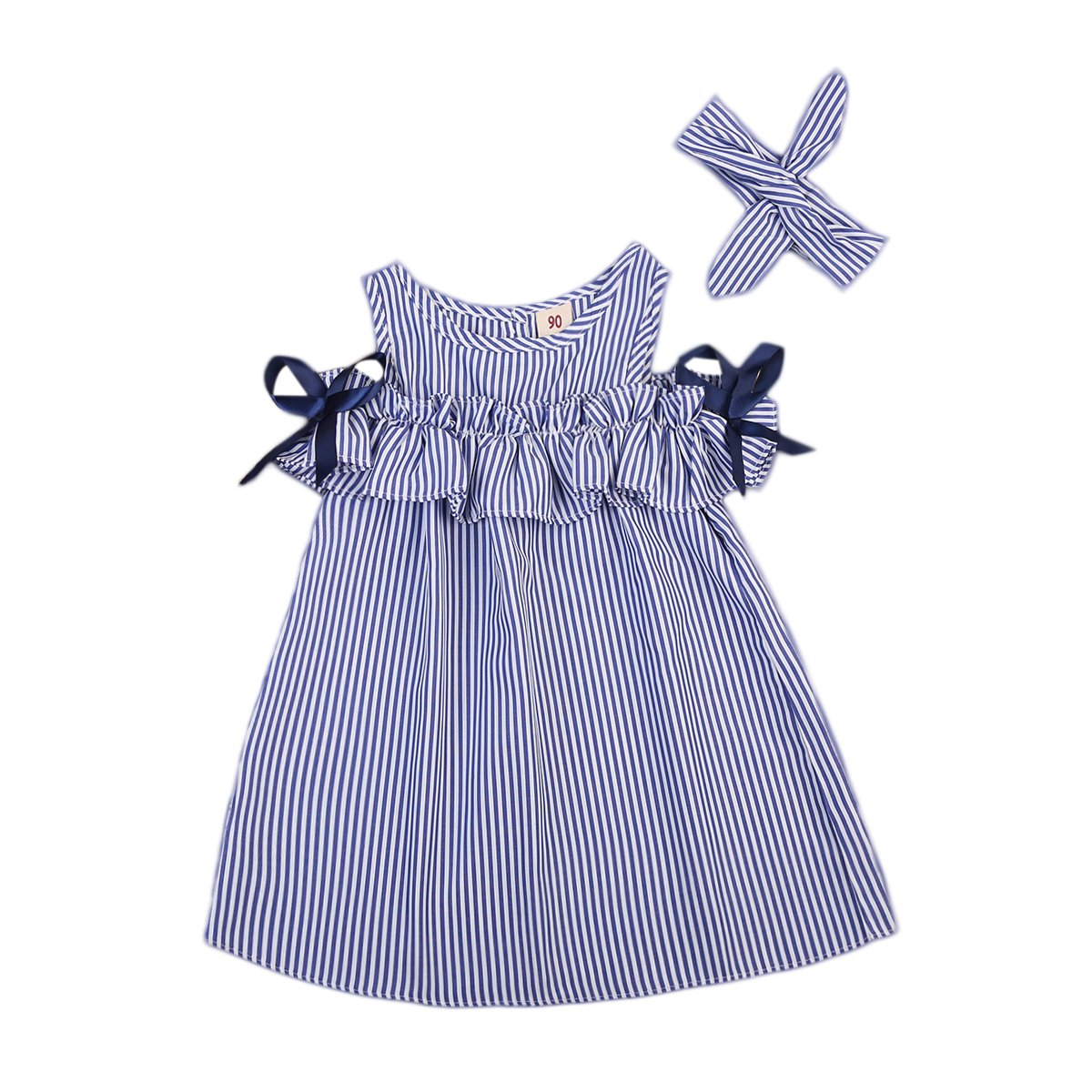 --Hot Summer Toddler Kids Baby Girls Clothes Blue Striped Off-shoulder Party Gown Formal Dress--