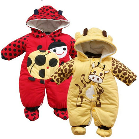 Hot sell Ladybird Beetle rompers quilted thicken footbinding jumpsuits Yellow&cream-coloured dairy cattle Winter baby rompers