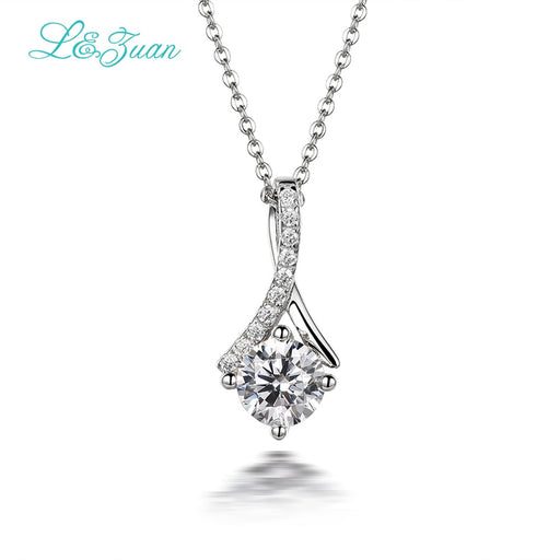 I&Zuan Diamond Jewelry 925 Sterling Silver Pendant Necklace For Women 1.4ct Clear Stone Elegant Simple Fashion Jewelry For Lady
