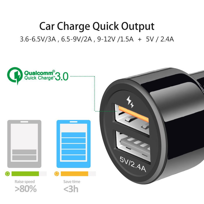 IBD Car Phone Charger Qualcomm Quick Charge 3 0 Car Charger 30W Dual USB  Cell phone Car-charger Compatible Power Adapter