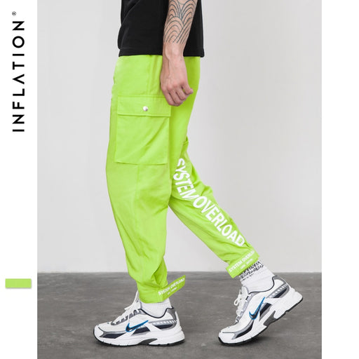 INFLATION 2018 New Fashion Style Fluorescent Green Joggers Sweatpants Male Street Fashion Men Trousers Hip Hop Track Pants 8861W