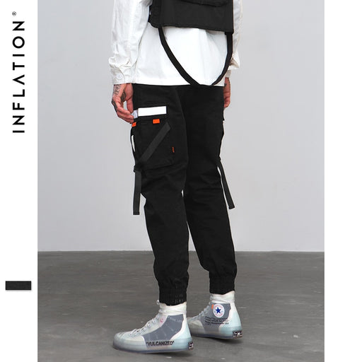 INFLATION Hip Hop Harem Joggers Pants 2018 Male Trousers Mens Pocket Tapes Elastic Waist Casual Pants Sweatpants 8860W