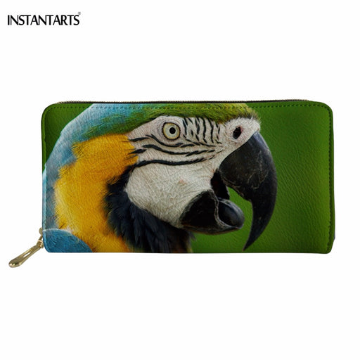 INSTANTARTS Fashion Colorful Parrot Printing Woman Long PU Leather Wallet Brand Female Card Holder Waterproof Cash Coin Purse