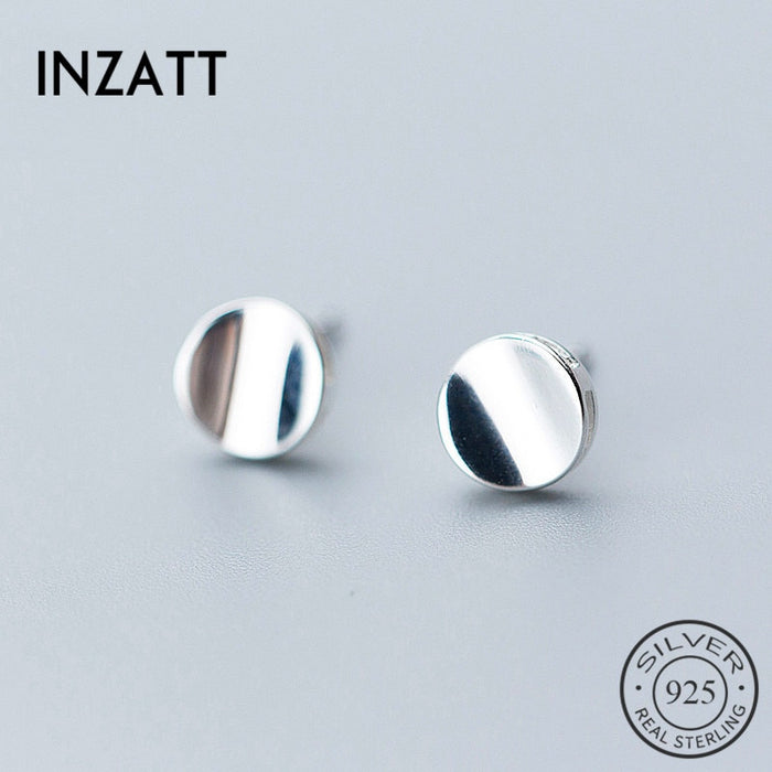 INZATT Personality Geometric Round Glossy Minimalist Stud Earrings Fashion  925 Sterling Silver Fine Jewelry For Women Party Gift