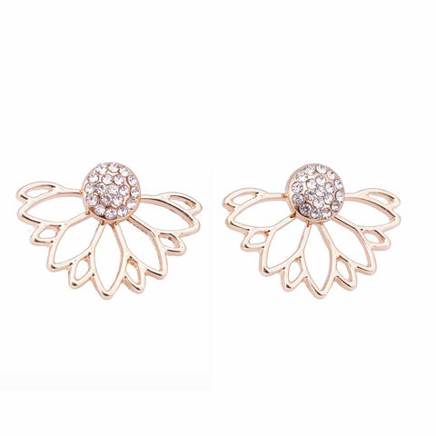 IPARAM 2018 Lotus Crystal Jacket Flower Stud Earrings For Women fashionJewelry Double Sided Gold Silver Plated earrings